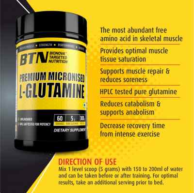BTN Premium Micronized Pure L-Glutamine powder unflavored & suitable for vegan   Instantly mixes   300g