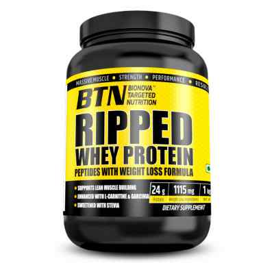 BTN Ripped whey protein peptides with weight loss ingredients (Pre & Post-Workout) Chocolate Fudge 1 Kg