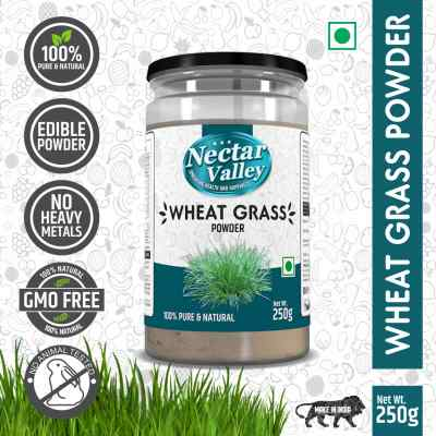 Organic Wheatgrass Leaf Powder, 250g - Rich in Fibers, Chlorophyll, Fatty Acids and Minerals - Certified Non-GMO Vegan Food Supplement by Nectar Valley