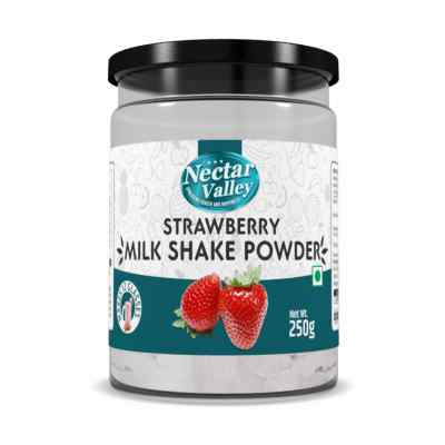 Nectar Valley Strawberry Milkshake Powder, No Refined Sugar Added | Just Add 2 Spoons Powder In A Glass Of Milk | Makes 12 Glasses - 250g