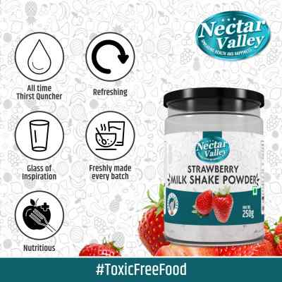 Strawberry Milkshake Powder, No Refined Sugar Added | Just Add 2 Spoons Powder In A Glass Of Milk | Makes 12 Glasses - 250g