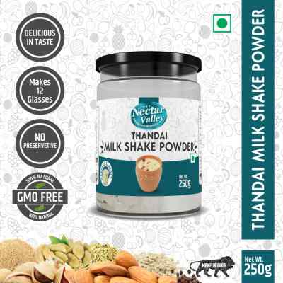 Nectar Valley Thandai Milk Shake Powder   just add 2 spoons powder in a glass of milk   Makes 12 glasses - 250g