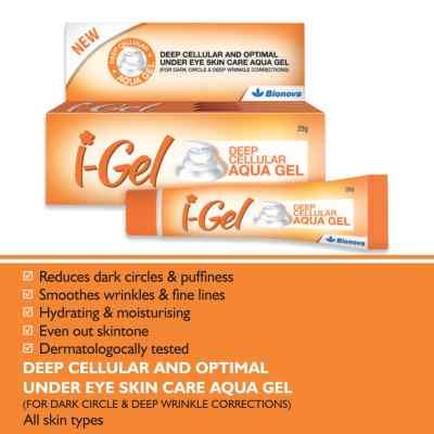 Bionova I-Gel Under Eye Cream for Dark Circle-25g, Puffiness, Wrinkles, Bags, Skin, Firming, Fine Lines-Deep cellular Aqua Gel for Under Eye Skin Care