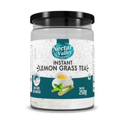 Nectar Valley Instant Lemongrass Green tea powder | Brewed from real leaves - Makes 15 cups - 250g