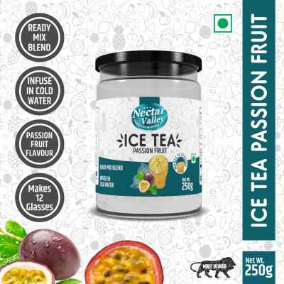 Nectar Valley Instant Ice Tea Mix - Passion Fruit | Ready mix blend | Brewed from real leaves - Makes 12 glasses - 250g