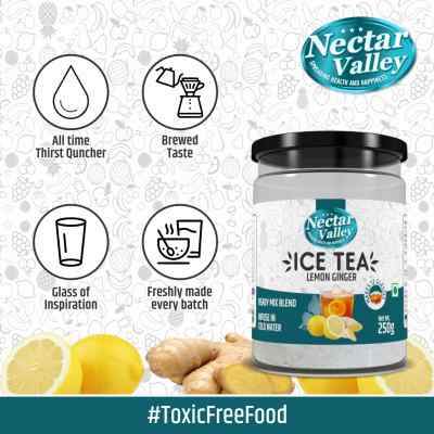 Nectar Valley Instant Ice Tea - Lemon Ginger | Ready mix blend | Brewed from real leaves - Makes 12 glasses - 250g